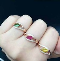 Wholesale Red Tourmaline Rose Gold Ring - S925 rose gold plated natural tourmaline size4*8mm adjustic ring new fashion jewelry free shipping by epacket