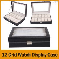 Wholesale Retail Jewelry Display Case - 12 Grid Leather Watch Display Case Jewelry Collection Storage Organizer Box Holder wholesale Retail Free Shipping