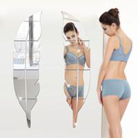adesivos de parede para vestiários venda por atacado-Venda quente New DIY Modern Plume Pena Acrílico Espelho Adesivos de Parede Home Room Decor Decal Excelente Qualidade Vestir Espelho 3D