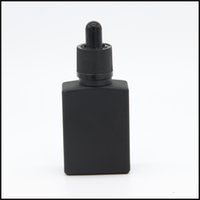 Wholesale 15ml Black - wholesale e cig liquid 15ml 30ml square matte black glass dropper bottle with childproof and tamper evident cap