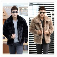 Wholesale Hooded Genuine Rabbit Fur Coat - Wholesale- New 2015 winter fashion men faux fur jacket Soft and comfortable warm rabbit fur Turn-down Collar solid color fur coat