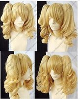 Wholesale Blonde Wig Pigtails Cosplay - Wholesale cheap Hot! New Blonde Mixed Cosplay Split -Type Wig And With 2 PigTails
