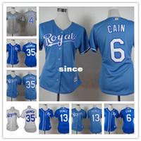 Wholesale Womens Black Shirt Embroidery - 30 Teams- 2015 Kansas city Royals women jersey custom shirt 8 Mike Moustakas 13 Salvador Perez Embroidery kc royals womens jersey