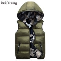 BabYoung 2017 Winter Women Vest Cotton Down Warm Coat Chaleco Mujer Hat Femme Ambos os lados vestem Veste Femme Camouflage Outerwear