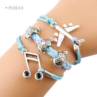 Wholesale Music Light Turtle Wholesale - Music Note Sixteenth Note Airplane Tortoise Turtle Charm Wrap Bracelets Light Blue Leather Wax kid child girls Women Fashion Gift Custom