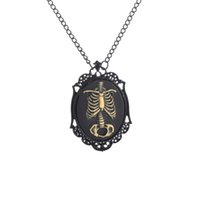 Wholesale Cameo Jewelry Wholesale - Anatomical Zombie Ribcage Cameo Necklace Day of the Dead Skeleton, Skeleton Necklace Jewelry, Domino Pendant Necklaces