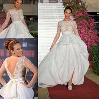 Wholesale Sew Applique Beads - Fashion A-type Lace Wedding Dresses With Long Sleeves Bateau Elegant Bride Gowns With Hand Sewn Flowers and Beads Custom V Back Bridal Gowns