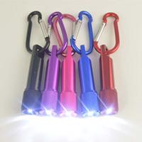schlüsselanhänger mini-taschenlampen großhandel-LED Mini Taschenlampe Aluminiumlegierung Taschenlampe mit Karabiner Ring Schlüsselanhänger Schlüsselanhänger Mini LED Taschenlampe Mini-Licht LED Taschenlampen
