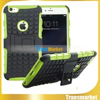 Wholesale Hybrid Case Iphone4 - Tire Style Tough Rugged Dual Layer Hybrid Hard KickStand Duty Armor Case for iphone6s 6s Plus iphone4s iphone4 iphone5s 5c 5 .free DHL hot