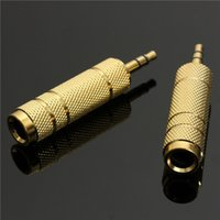 "Wholesale Micro Headphone Jack - 3.5mm Male to 6.5mm 1 4"" Female Jack Plug Stereo Headphone Microphone Audio Adapter Converter AV Gold Plated Wholesale"