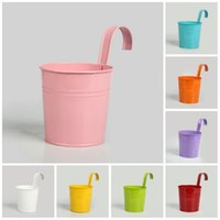 Wholesale Glazed Planters Wholesale - Simple Garden Pots Corrosion Resistant With Pothook Iron Flower Barrels Round Balcony Planters Top Quality 4 3xf B R