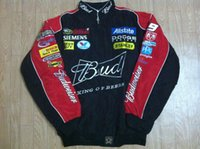 Wholesale Black Turtleneck Jacket - Embroidery LOGO F1 FIA NASCAR IndyCar V8 Supercar MOTO GP Racing Cotton Jacket Motorcycle Rider Jacket For Budweiser Jacket,A072 A073