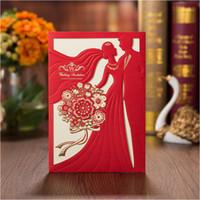 ingrosso carta da favola nuziale wedding-Invito a nozze dolce Red Wedding Sposo Laser Cut Marriage Cartoncino Sposa Shower Cards Bomboniere 50pcs