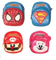 Wholesale Children S Backpack Cartoon - free shipping NEW Arrival Gift kids Spider-man super Mario Kitty Bag Baby Cartoon shoulder Bag in PU Bag in Children 's s backpack MOQ:14PCS