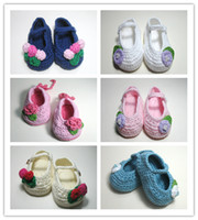 Wholesale Pink Newborn Booties - 2015 Crochet newborn baby girl shoes baby moccasins hand knitted baby shoes girl knitted baby booties