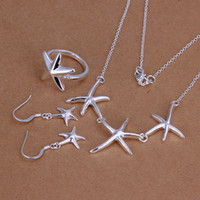 Wholesale American Grade - High grade 925 sterling silver Starfish three-piece jewelry set DFMSS175 brand new Factory direct 925 silver necklace earring ring