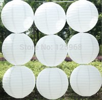 Wholesale Chinese Paper Lanterns 16 - Wholesale-2015 White paper lanterns 10pcs lot 16''(40cm) Round paper lanterns lamps festival wedding decoration chinese paper