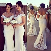 Wholesale Cap Sleeve Satin Wedding Dresses - Off Shoulder Satin Mermaid Bridesmaid Dresses Appliques Lace Capped Sleeves Backless Wedding Guest Dresses Plus Size Ivory Prom Dresses