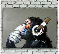 ingrosso migliori arti moderne-Dipinto a mano moderna pittura a olio animale scimpanzé su tela di canapa orangutan per la decorazione della parete o migliori regali agli amici