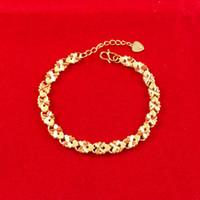 bracelete de 18k gf venda por atacado-Atacado Charme 18 K Yellow Gold Filled Pulseira das mulheres filigrana coração GF Lady link Chains livre novo