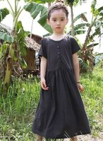 Wholesale Korean Casual Beach Dresses - Girls Dresses Casual Beach Long Dress 2015 Summer Family Clothing Korean Style Button Solid Short Sleeve Baggy Dressy 5Color I3181