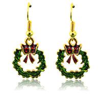 Wholesale Bouquet Earrings - Wholease Christmas Charms Earrings Fashion 2 Color Dangle Bouquet Green Leaf Statement Earrings For Women Jewelry
