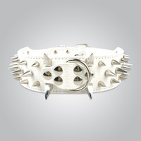 Wholesale white leather dog collars resale online - Fast shipping Neck for quot White Genuine Leather Spiked Studded Dog Collars for Pitbull Collars