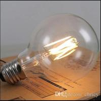 bombilla de edison al aire libre al por mayor-Bombilla de filamento LED de tungsteno G95 Edison Style E27 110v / 220V 360Degree Glass 4W / 6W / 8W Blanco cálido / frío para iluminación del hogar Bombilla Edison