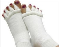 Wholesale Foot Alignment Socks - Massage Five Toe Socks Fingers Separator Comfy Toes Sleeping Socks Happy Feet Foot Alignment Socks 500Pairs