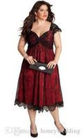 vestidos de moda para ocasiões especiais venda por atacado-Moda Plus Size Rendas Vestidos de Noite Chá Comprimento do Querido Tampado Mangas Coquetel Dama de Honra Mãe Vestidos Ocasião Especial