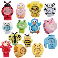 Wholesale Snap Watches For Kids - Silicone Animal Slap Snap Watch Mix styles Cartoon Children watch Wrist watches Candy Gift Watches For Kids