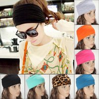 Wholesale Wholesale Exercise Stretch Bands - 12pcs Mix Colors Women Stretch Headband Turban Sport Exercise Cotton Head Wrap Headwear Hair Accessories Band Free Ship JH06027