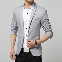 Wholesale Designers Blazers Suit - Wholesale-2015 Men Casual Blazers Designer Blue One Button Style Fashion Brand Solid color Business Blazer Suits For Men
