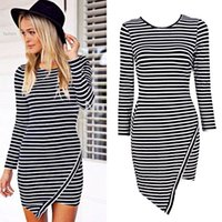 Wholesale Best Price Pencil Dress - Best price Slim Casual Pencil Dress Long Sleeve Women Striped Bodycon Stretch Evening Party Dresses Drop Free shipping 10