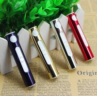 Wholesale Hot sale USB cigarette lighter mini portable windproof electronic lighter silver gold red purple large in stock