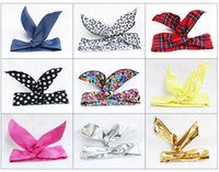 Wholesale Lace Rabbit Ears Headband - hot sale best price !!!cute The latest south Korean lovely children hair ribbon accessories baby rabbit ear hair band head band MQ
