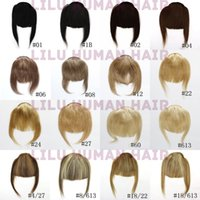 Wholesale Clip Bang Brazilian Hair - Clip ins Front Inclined Bang Fringe Human Hair Extensions 16 Colors Natural Black Blonde Brown Mix Color