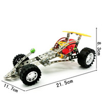 Wholesale Building Model Making - Hand Made DIY Toy Bricks Simulation Four Wheel Drive Car Model Building Blocks Puzzle Stainless Steel 3D Assembly Toys LX017 B