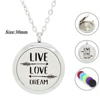 Wholesale Aroma Diffuser Essential Oils - 316L Stainless Steel Essential Oil Diffuser Necklace for Women Positive Qoute Perfume Locket with pads Aroma pendant