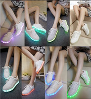 Wholesale wholesale led shoes - 7Colors LED luminous shoes men women fashion sneakers USB charging sneakers adults colorful glowing 35-44 flat shoes Free shipping 100pcs