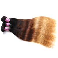 Wholesale Dark Brown India Hair - Fashion India Human Hair Weft 12-24inch T Color Ombre-1B Black 4 Dark Brown 27 Honey Blonde Straight Machine Made Hair Salon Extensions