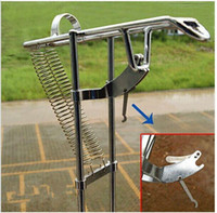 Wholesale Automatic Pole Holder - Free Shipping Double Spring Automatic Adjustable Fishing Rod Pole Bracket Practical Silver Steel Fishing Tool Stand Holder top sale free