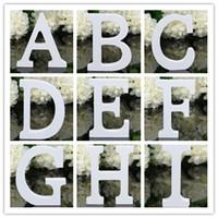 décoration de lettres en bois achat en gros de-Décoration de maison décoration épaisse en bois lettres blanches alphabet mariage mariage en bois blanc 8cmX1.2cm