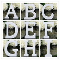 Wholesale Wholesale Wood Home Decor - Home Decor Decoration thick Wood Wooden White Letters Alphabet Wedding Birthday 8cmX1.2cm