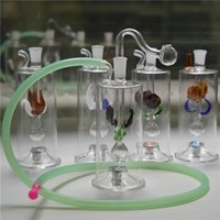 "Wholesale Oil Hoses - Best Bongs Unique Design Mini Glass Water Pipes Automatic Multicolor LED Light 5"" inches Recycler Oil Rig with 20"" Hose and Pot Bowl"