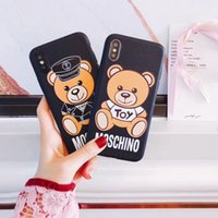 Wholesale Phone Covers Bears - Cute cartoon bear silicone phone case shell for iPhoneX 8 7 7plus all-inclusive TPU Anti-knock cover for iPhone6 6Splus