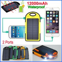 Wholesale Tablet Pc External Battery Chargers - Weatherproof Dustproof 12000mAh Solar Charger and External Battery Solar Panel Dual USB power bank For Mobile phone S6 5S ipad Tablet PC