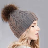 Wholesale Korean Womens Winter Hat - Korean Winter Hat For Female Womens Hair Ball Knitted Hat Big Twist Big Raccoon Fur Ball Wool Ball