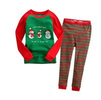Wholesale red stripe clothing - Kids christmas sleepwear children clothing kids cotton stripe pants pajamas snowman sleepwear sets DHL free shipping