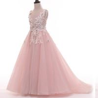 porzellan kleider großhandel-Neue schöne Blumenmädchen Kleider für Hochzeit vestido daminha Alibaba China Kinder Geburtstag Kleid Festzug Mädchen Kleider